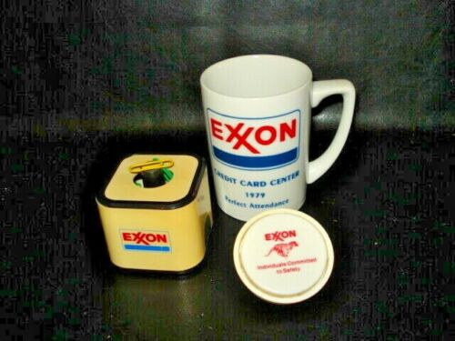 VINTAGE LOT OF Exxon MEMORABILIA-NIGHT LIGHT-CUP-PAPER CLIP HOLDER