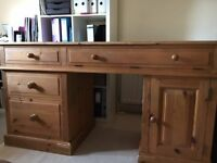 SOLID PINE DESK WITH FILING CABINET