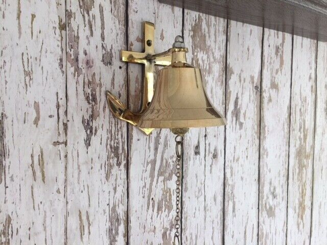 Brass Anchor Ship Bell w/ Chain Lanyard Pull ~ Nautical Maritime Wall Decor
