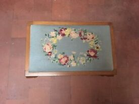 Small embroidered footstool in very good condition