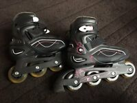 Inline skates size 4 UK with carry bag, knees and wrist protections