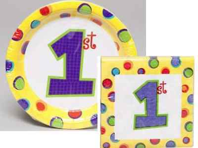 1st Birthday Paper Plates and Napkins Set In Yellow - 24 Count - Free Shipping