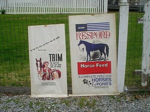 TWO VINTAGE AGWAY HORSE FEED PAPER SACKS BAGS~NEVER USED