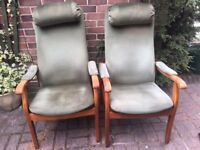 Two Cintique chairs with matching pouffes