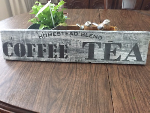 WOODEN COFFEE - TEA SIGN