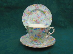Royal Winton Marion Chintz Teacup Saucer and Plate Trio