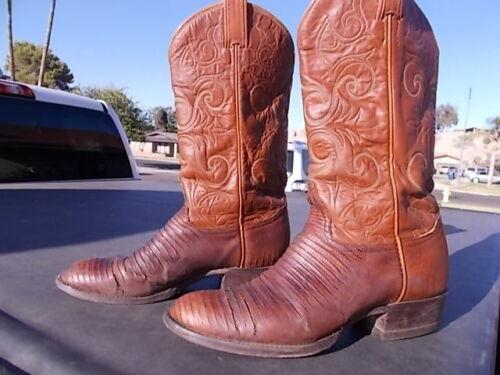 506199600f0 Distressed Lizard Skin Tony Lama Western Cowboy Boots Mens Size 8 1/2 D
