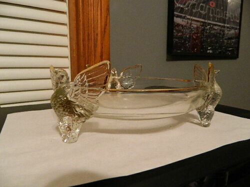 Jeanette Glass Clear 3 Footed Pheasant Bird Bowl With Gold Trim, stunning