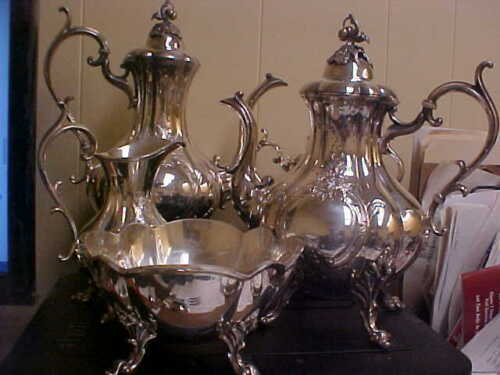 Reed & Barton Silver Plate WINTHROP 1796C Hand Chased 5 Pc Tea Coffee Service