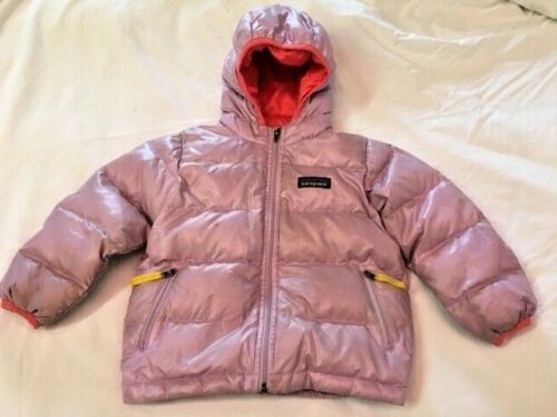 Baby Patagonia Hi- Loft Down Sweater Puffy Coat Hoody Size 2T Iridescent Orchid