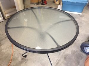 Wrought Iron Patio Table w/glass top