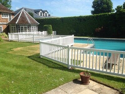 POOL FENCING VINYL PVC POST AND RAIL Plastic Portable Free Standing