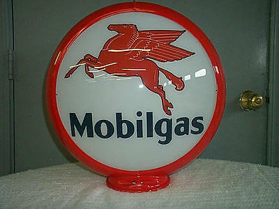 gas pump globe MOBILGAS reproduction 2 glass lenses in a plastic body NEW
