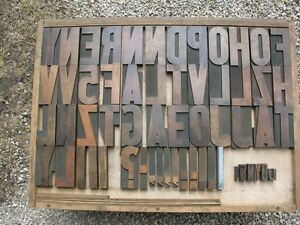 Antique Wood Letterpress Type with Drawer