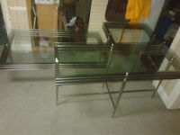 BEAUTIFUL 3 PIECE COFFEE TABLE SET (STAINLESS STEEL)