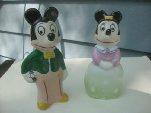 Vintage Mid Century Mickey Mouse & Minnie Porcelain Figurines Unusual Style Look