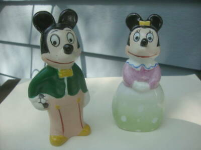 Vintage Mid Century Mickey Mouse & Minnie Porcelain Figurines Unusual Style Look