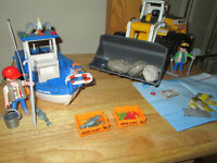 ***PLAYMOBIL 5131 FISHING BOAT COMPLETE+4038 FRONT LOADER!!!***