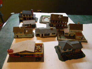 n scale buildings for layout and box of trees
