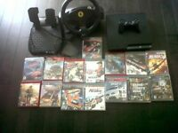 PS3+FERRARI WHEEL+18 GAMES