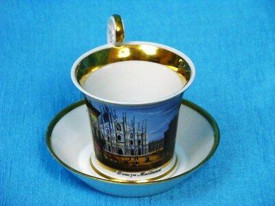"""Ansichten Tasse mit Untertasse """"Dom zu Mailand"""" cup and saucer um 1800"""