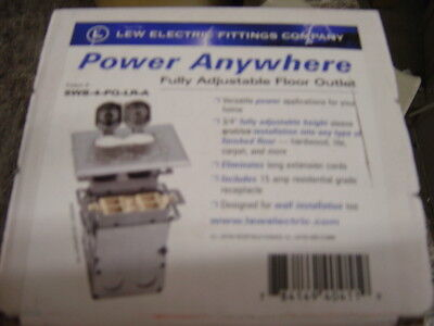 LEW ELECTRIC SWB-4-PQ-LR-A FLOOR BOX & STAINLESS STEEL   COVER  2 GANG