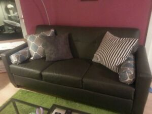 Dark grey faux leather modern 3 seater sofa couch