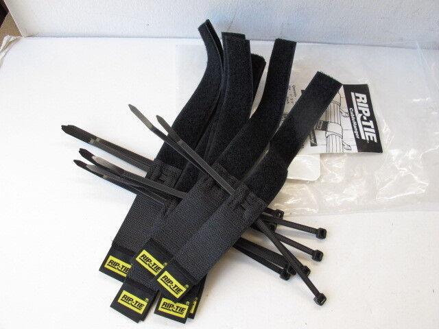 """Rip-Tie Hook and Loop Cable Hangers - 9"""" Black - Bag of (10) - S-09-010"""