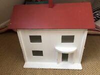 Dolls House,Vintage wooden 1950's+ Furniture + Vintage Toy Dolls Crib