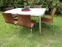 Chrome / Leather -- Table & 6 Chairs