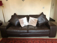 Sofa, three seater + two pillows! Italian leather! Very good condition, great size! BARGAIN!