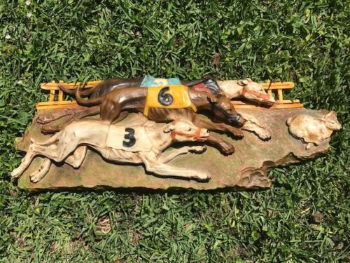 1976 Universal Statuary #377 G. Boni Greyhound Dog Racing Rabbit Wall Relief Art