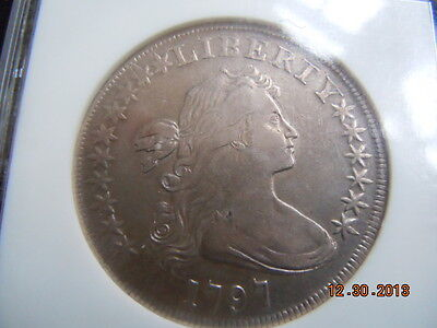 1797 DRAPED BUST DOLLAR, NGC XF40, 10X6 STARS, LARGE LETTERS, ONLY 7000 MINTED!