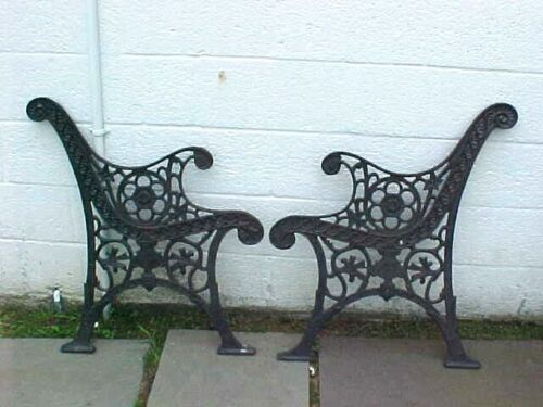 Antique old ornate cast iron bench legs arm rests for lawn backyard furniture
