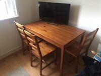 Dining Table & four Chairs (TV not included)