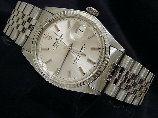 Rolex Datejust Mens SS Stainless Steel & 18K White Gold Jubilee Silver Dial 1601 - watch picture 1