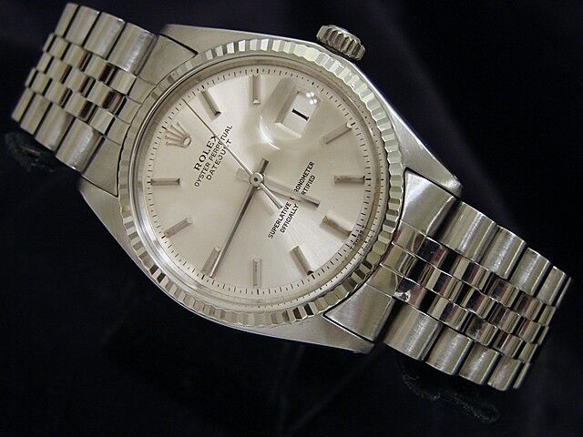 Rolex - Rolex Datejust Mens SS Stainless Steel & 18K White Gold Jubilee Silver Dial 1601
