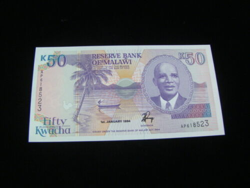 Malawi 1994 50 Kwacha Banknote Gem Uncirculated Pick #28b