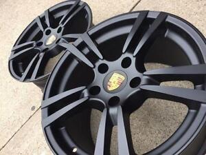 "$750 (Tax-In)- NEW 18""Porsche Turbo II Matte Black Staggered reps (5x130)– Porsche 911/ Boxster/ Cayman/ 944/ 928/ 968"