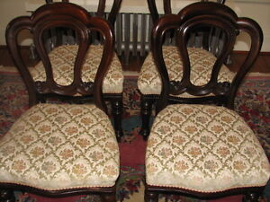 Antique Mahogany Balloon Back Dining Chairs, Carved, Set of 4 Kitchener / Waterloo Kitchener Area image 3