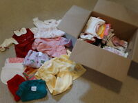 Box of Girls 0-3 months clothes