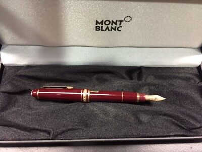 Montblanc Meisterstuck Bordeaux Fountain Pen Gold and Burgundy M Nib Mini Size