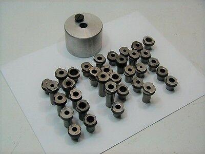 Douglas Aircraft Aluminum Drill Cup Tool & (34) Slip Fit Drill Bushing Tools
