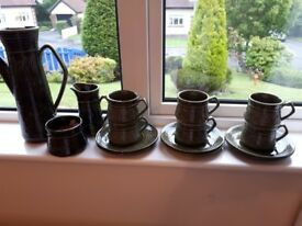 """BEAUTIFUL 1960's ELLGREAVE """"SAXONY"""" COMPLETE GREEN COFFEE SET - EXCELLENT CONDITION"""