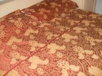 Sanderson red and gold double duvet cover and 2 pillowcases.