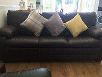 ** Free ** Brown 3 Seater Leather Sofa