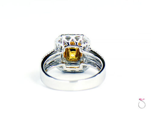 Natural Fancy Intense Yellow Diamond Ring, 1.02 ct. 18K White Gold 1.40 CTW. GIA 7
