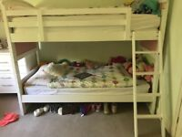 Pink and white wooden bunk beds with detachable ladder - with or without mattresses