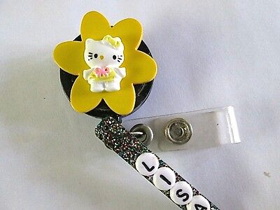 Id Badge Retract Reel Magnet Or Clip Yellow Hello Kitty Medicalnurseofficeer