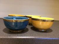 Soup Bowls yellow blue x 4 Moroccan